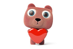 A cute little bear hugging a heart-shaped,3D rendering. A cute little bear hugging a heart-shaped Royalty Free Stock Image