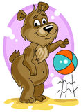 Cute little bear playing with ball royalty free stock image