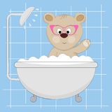 Cute little bear  in the shower. Royalty Free Stock Photography