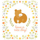 Cute little bear summer illustration Royalty Free Stock Photos