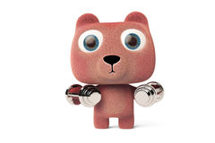 A cute little bear in the training arm,3D rendering. A cute little bear in the training arm 3D rendering Royalty Free Stock Image