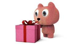 A cute little bear viewing a gift box,3D rendering. Stock Image