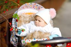 Cute little beautiful baby girl sitting in the pram or stroller on autumn day. Happy healthy child going for a walk on stock photo