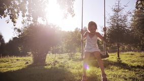 Cute little beautiful girl having fun on swing in a tree swing and smile at the park on sunset. Cute little beautiful girl wearing all pink having fun on swing stock video footage