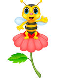 Cute little bee cartoon on red flower Stock Photo