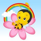 Cute little bee cartoon. Cute little bee on sunflower vector illustration