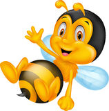 Cute little bee cartoon waving hand Stock Images