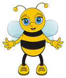 Cute and little bee. Funny bee stand and open his paws for hugs vector illustration