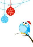 Cute little bird with Christmas balls Stock Image