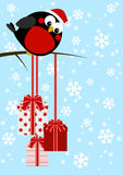 Cute little bird with Christmas gifts Royalty Free Stock Images