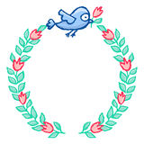 Cute little bird floral wreath Royalty Free Stock Photo