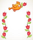 Cute little bird and flowers frame Stock Photos