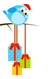 Cute little bird with gifts Royalty Free Stock Photography