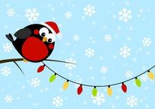 Cute little bird with light bulbs. On blue winter background vector illustration