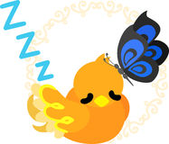 Cute little bird of mysterious design. A sleeping cute little bird of mysterious design Royalty Free Stock Photography