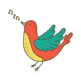 Cute little bird singing. Stock Images