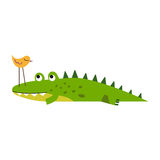 Cute little bird sitting on a crocodile nose vector Illustration Stock Photo