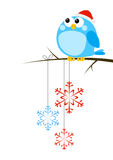 Cute little bird with snowflakes Royalty Free Stock Images