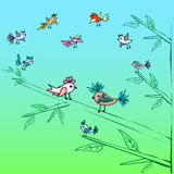 Cute little birds family tree nature background Stock Images