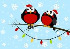 Cute little birds with light bulbs. On blue winter background stock illustration