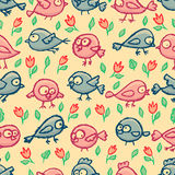 Cute little birds seamless pattern Royalty Free Stock Image
