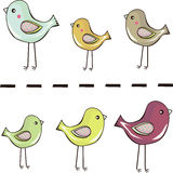 Cute little birds standing in a row background Stock Image