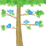 Cute Little Birds in a Tree Royalty Free Stock Photos