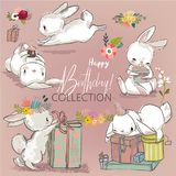 Cute birthday hares collection Stock Photo