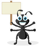 Cute little black ant with wood sign Stock Photos