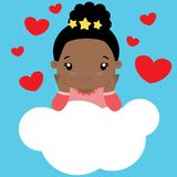 Cute Little Black Girl in Love Sitting on a Cloud Royalty Free Stock Images
