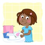 Cute little black girl washing hands with pink soap stock illustration