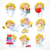 Cute little blond angel with gifts and toys Royalty Free Stock Images