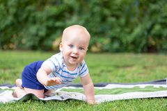 Cute little blond baby boy crawling on fresh green grass. Kid having fun making first steps on mowed natural lawn. Happy and healt. Hy childhood concept stock photo