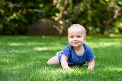 Cute little blond baby boy crawling on fresh green grass. Kid having fun making first steps on mowed natural lawn. Happy and healt. Hy childhood concept stock photography