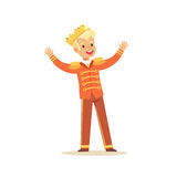 Cute little blonde boy wearing a prince costume, fairytale costume for party or holiday vector Illustration Royalty Free Stock Photography