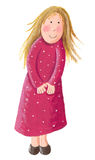 Cute little blonde girl. Acrylic illustration of little cute shy blonde girl Stock Photo