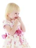 Cute little blonde girl in a beautiful elegant stock image