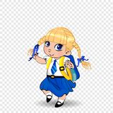 Cute little blonde schoolgirl with braids and big blue eyes wearing uniform with backpack on transparent background. Vector illustration, clip art, template royalty free illustration