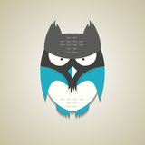 Cute little blue and grey cartoon owl Royalty Free Stock Photos