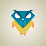Cute little blue and yellow cartoon owl Royalty Free Stock Image