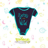 Cute little bodysuit with lettering Born to be Wild on Seamless pattern with hand drawn baby items on background. Stock Photo