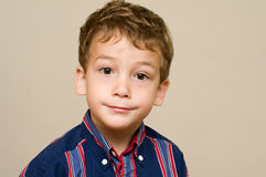 Cute little boy. Portrait of an adorable little brown eyed boy against a cream background Royalty Free Stock Image