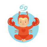 Cute little boy as Cancer astrological sign. Horoscope symbol symbol colorful character vector Illustration Stock Image