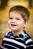 Cute little boy in autumn. Portrait of a cute brown-haired little boy with blue eyes grinning with autumn trees in the background royalty free stock photo