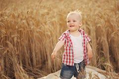 Cute little boy in autumn wheat field Royalty Free Stock Photo