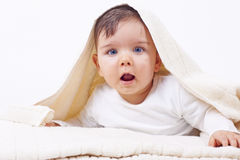 Cute little boy after bath Royalty Free Stock Image