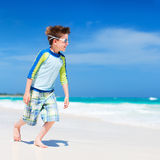 Cute little boy at beach Stock Images