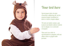 Cute little boy in a bear suit Royalty Free Stock Photo