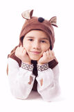 Cute little boy in a bear suit Stock Photo