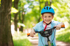 Cute little boy on bike Stock Photography